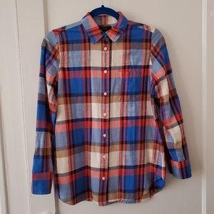 J Crew blue red plaid cotton button down shirt 2P